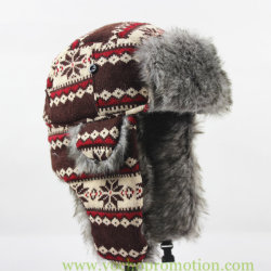 Snow Jacquard Knitted Ushanka Russian Trapper Hat 28365e880960