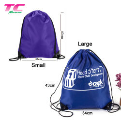 Custom Print Brand Logo Promotional School Sports Drawstring Backpack Bags, Durable 420d Polyester Backpack Bag Factory