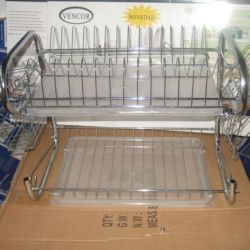 Kitchen Stainless Steel Cabinet Plate Dish Draining Storage Rack