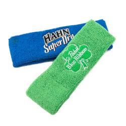 Promotional Custom Embroidery Logo Sweatband Sport Wristband Headband Set