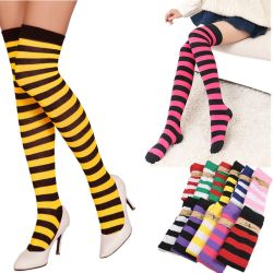 4a6cce1244777 Fashion Thigh High Over Knee High Socks for Girls Womens Students Striped  Cotton Long Stockings Sock