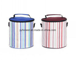 Strip Fashion Design Round Colorful Lunch Cooler Bag