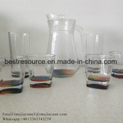 9710abe0216 7PCS Printed Glass Drinking Jug Set Water Juice Pitcher Set with Color Box
