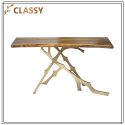 Top Wood Base Tree Root Golden Stainless Steel Dining Table