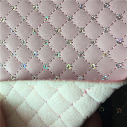 Fashion Small Grid Embroidery Artificial Leather for Bag Sequin Embroidered