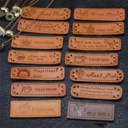 Embossed Glossy PU Leather Patches And Labels For Clothing