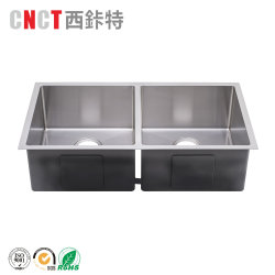 Handmade Hand Washing Undermount Double Bowl Ss 304 Water Stainless Steel Kitchen Sink