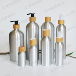 Aluminum Cosmetic Bottle with Bamboo Lotion Spray Pump (PPC-ACB-043)