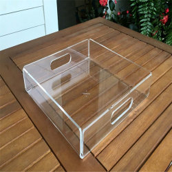 Factory Customized Lucite Acrylic Serving Tray with Handle for Food