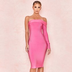 56a80b16 2019 European and American Fashion Pink One-Word Neck Long Sleeve Single  Shoulder Bandage Dress
