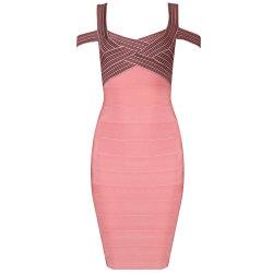 Sexy Jacquard Slip off-Shoulder Deep V Backless Bandage Night Club Women Clothes