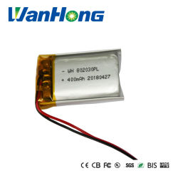 Rechargeable Lipo Battery 802030pl 400mAh Li-ion Battery 3.7V Li-Polymer Battery for Audio