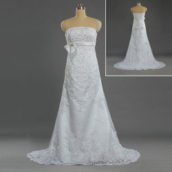 dc63c111926 W291 Ladies Designer A Line Strapless Bead Lace Sweep Train Wedding Dress
