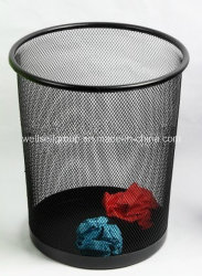 2017 Colored Metal Mesh Round Paper Waste Bin Trash Can