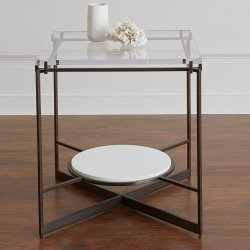2018 Latest Creative Design Multipurpose Clear Acrylic 2 Shelves Nightstand Computer Desk Gl Coffee Table