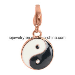 Black and White Enamel Yin Yang Charm Jewelry