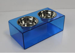 Pet Feeder for Small Dogs & Cats Made with Acrylic Stand & Stainless Steel Bowls