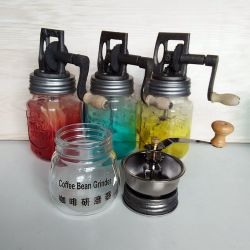 Hot Sell Painting 16oz Glass Mason Jar Kitchen Manual Vintage Butter Churn Hand Machine Mixer Home Diary