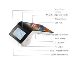 Android 5.1 Smart Handheld POS Terminal NFC EMV Magnetic Card Reader Thermal Printer All in One Cash Register PT7003