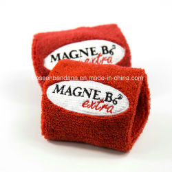 Factory OEM Produce Custom Logo Embroidered Cotton Terry Towel Red Wrist  Band Sweatband