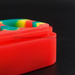 Big Silicone Jar 75ml Rectangle Container with 4 Separates for Smoking Pipes