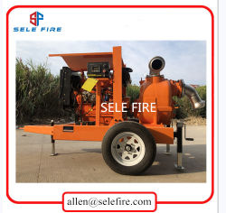 High Capacity Single Stage Non-Clogging Self Priming Diesel Engine Slurry Water Pumps with Two Wheels