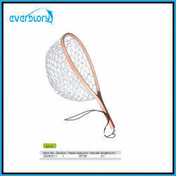Wood Grip Fly Fishing Net Fishing Tackle with Rubber Net