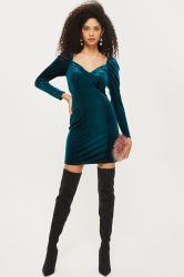 High Quality Sweetheart Neck Velvet Bodycon Dresses Wholesale