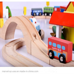 Hand Crafted Wooden Train Track Set Railway Track Kids Toy Car