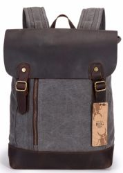 Fashion School Canvas Backpack Bag with Leather Flap
