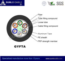 Gyfta Non-Metal FRP Central Strength Optical Fiber Cable, Corrugated Aluminum Tape Armouring.