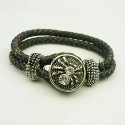 Fashion PU Leather Multicolor Snap Button Jewelry Accessories Rhinestone Bracelet