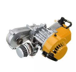 49CC MINI DIRT BIKE ENGINE WITH TRANSFER BOX YELLOW PULL START MINI MOTO