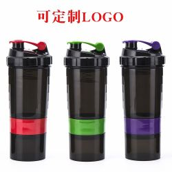 Wholesale 3 Compartment PP Plastic Shaker Bottle Protein Shaker Cup with Protein Powder Storage Box