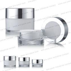 15g 30g 50g de Lege Acryl Kosmetische Levering voor doorverkoop van de Kruik van de Room van de Verpakking met Glanzend Zilveren Aluminium GLB