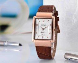 Oro rosa de cuarzo cronógrafo de acero inoxidable de cuero marrón Reloj de dama