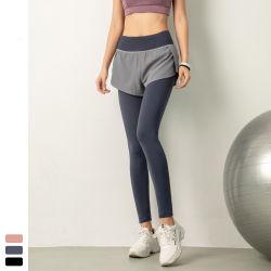 El Yoga de alta calidad personalizado prendas de vestir Mujeres vestir pantalones de entrenamiento de gimnasio de deportes al aire libre emparejador femenina pantalones falsificó dos piezas gimnasio pantalones largos con bolsillo