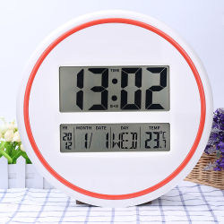 De ronde Digitale Klok van de Muur met Datum en de BinnenLevering voor doorverkoop van de Temperatuur