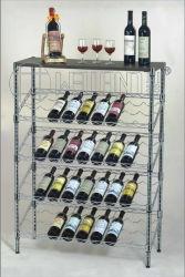 Estante de Almacenamiento de Botella de Vino de Uva de Metal Cromado con Pantalla Inclinada de 5 Niveles