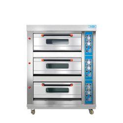 فرن الصرير التجاري 3 منصة 6 صينيات فرن غاز من الفولاذ المقاوم للصدأ Steel Pizza BRead Equipment Roaster Machine