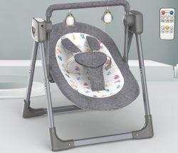 009 تم اهتزاز حامل الطفل الكهربائي باللون الرمادي يدويًا، بفضل موسيقى Comfort وBluetooth®