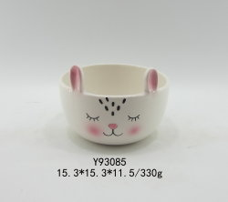 Conejo Blanco el Tazón de cerámica de animales