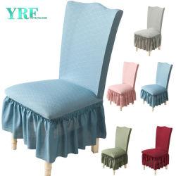 結婚披露宴のためのホーム織物の刺繍のレースの椅子のシートカバーのピンクの椅子カバー