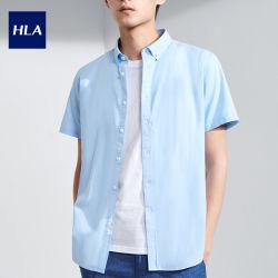 Camicia casuale Short-Sleeved di colore netto di Hla un nuovo prodotto da 2020 estati che lava Oxford che fila il breve maschio del rivestimento