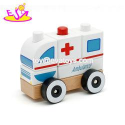 Cartoon coche Vehículo ambulancia juguetes para niños, Empujar a lo largo de vehículo ambulancia juguete de madera, de promoción del vehículo ambulancia Toy W05c012