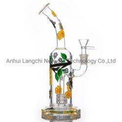 Grosses Bienen-Glaswasser-Rohr-Huka-Glaspfeife-Glasrohr Shisha rauchendes Zubehör-Glasbecher-Rohr