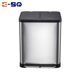 18L de acero inoxidable cierre suave de la basura de las habitaciones Cocina cubos de basura para el hogar