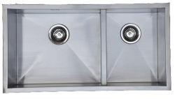 Bol double évier de cuisine à la main en acier inoxydable avec finition brossée