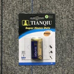 Suministro de la fábrica Tianqiu 6f22 9V Batería de alta resistencia, la chaqueta metálica alta alimentación batería seca