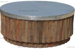 قطع أثاث صناعية متعددة الوظائف معتّقة قديمة من الألومنيوم الطبيعي تمت إعادة تصنيع قطع خشب الدردار طاولة قهوة خشبية